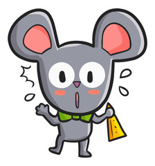 Funny and cute mouse get surprised - vector.