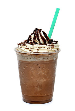 Frappuccino coffee with whipped cream in tak eaway cup isolated on white background