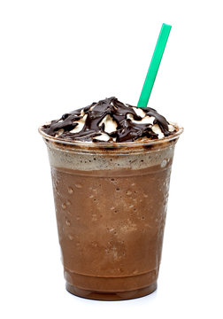 Frappuccino in takeaway cup with straw on white background