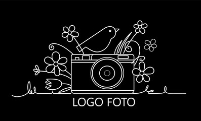 Photo camera with a bird on the camera and flowers around . Photography and photo studio line logo colorful sketch. Vector design element, logo, label, badge for business. Vector illustration