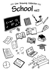 School 1 -Line Drawing Collection-
