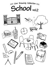 School 2 -Line Drawing Collection-