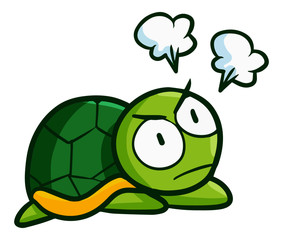 Funny and cute little turtle get angry - vector.
