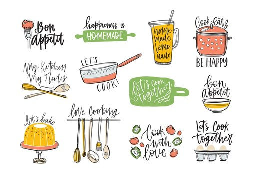 Set of phrases handwritten with cursive font and decorated with kitchen supplies and food products. Bundle of letterings and tools for cooking or homemade meals preparation. Vector illustration.