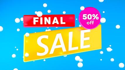 SUPER SALE 50% percent off with bule background illustration 3D rendering
