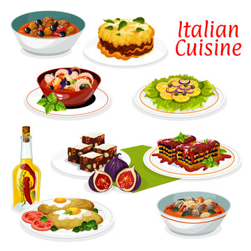 Italian meat and seafood dishes, fruit dessert
