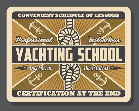 Yacht anchor and sail boat knot. Yachting school