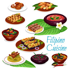 Filipino dishes with meat, seafood, fruit pastry
