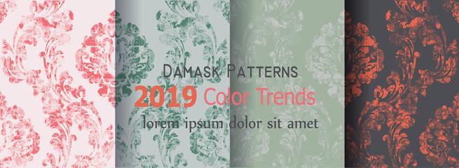 Fototapeta Classic flourish ornamented pattern Vector set collection. Victorian Royal texture. Flower decorative design. Trendy color decors obraz