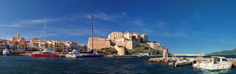 Port of Calvi with citadel in background (Corsica) - panoramic view