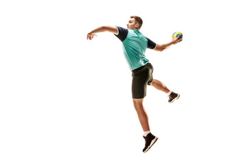 The fit caucasian young male handball player at studio on white background. Fit athlete isolated on white. The man in action, motion, movement. attack and defense concept Wall mural