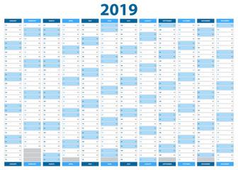 2019 Year Calendar. Wall Planner. Business Organizer. Vector design. Print template.
