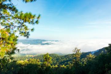 Beautiful horizon and sea of mist in the winter season of Thailand