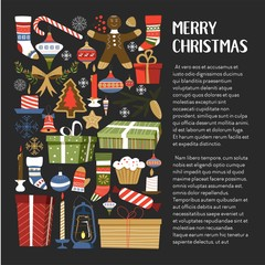 Merry Christmas presents and symbols of winter holiday vector gifts