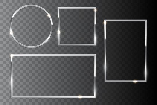 Silver shiny frame set isolated on dark transparent background. Vector design elements.