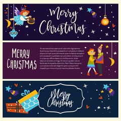 Merry Christmas couple man and woman dancing together vector pair in love angelic girl with harp flying above people in love
