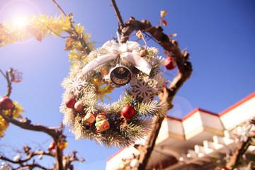 a circular Christmas tree decoretion