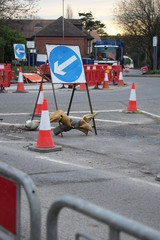 Traffic Control Road Works on Roundabout Construction