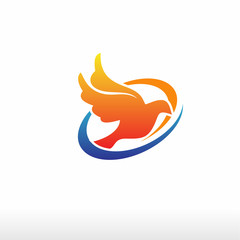 flying Dove Logo Template vector illustration