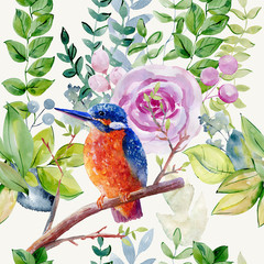 watercolor seamless pattern with kingfisher on the white background