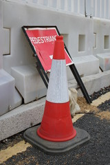 Pedestrian Dented Metal Roadwork Sign and Traffic Cone