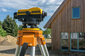 theodolite on a construction site of a house
