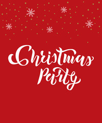 Christmas party text with snowflakes on background. Calligraphy, lettering design. Typography for greeting cards, posters, banners. Vector illustration