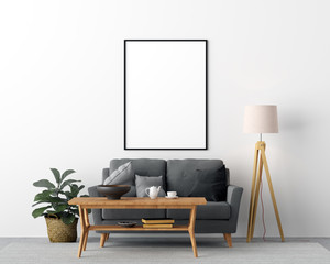 Mock Up Poster Frame Living Room Interior Background - 3d Render, 3d Illustration