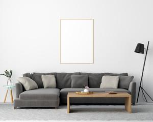 Mock Up Poster Frame Living Room Interior Background - 3d Render, 3d Illustration