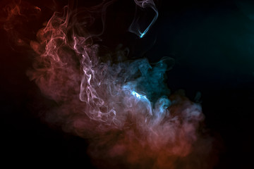 Space pattern, evaporating smooth waves of smoke, exuding vape, shone with purple, pink, blue color on a black background.