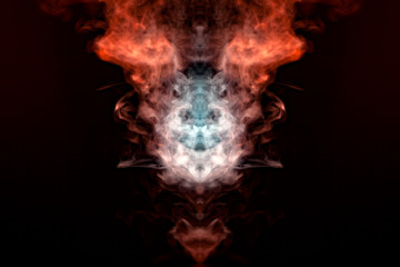 A mystical figure depicting the head of a fox and bringing in flames from multicolored billowing smoke: orange, yellow and white, against a black background.