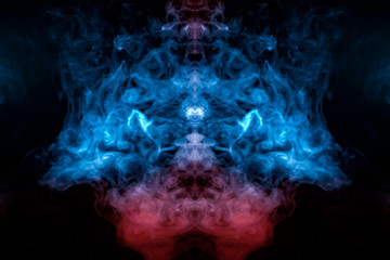 Burning blue fire smoke, rising up like a column from a purple-red base, intertwined in a pattern of a crown, on a black background.