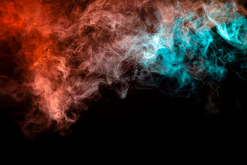 Translucent smoke rising to the top, illuminated by light on a dark background, multi-colored: blue, gray and red, evaporating in waves exhaled from the wape.