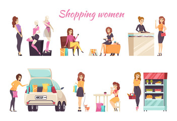 Shopping Women Poster Text with Ladies Set Vector