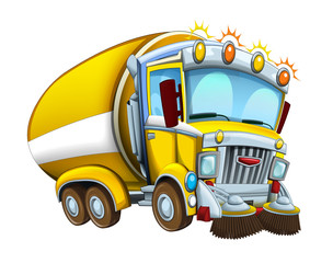 Cartoon funny looking cistern truck street cleaner on white background - illustration for children