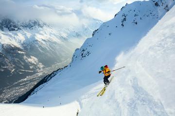 Fototapete - Good skiing day in France, Chamonix.