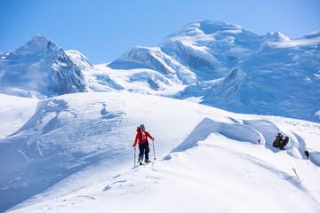 Fototapete -  Ski Touring in Alps, Chamonix.