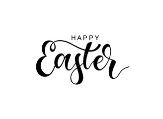 Hand sketched Happy Easter typography lettering poster.