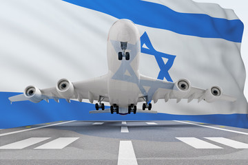 airplane taking off against the background of the flag of Israel