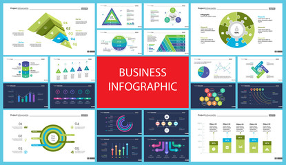 Set of accounting or economics concept infographic charts. Business diagrams for presentation slide templates. For corporate report, advertising, banner and brochure design.