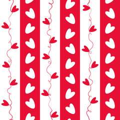 Sweet red and white doodle hearts seamless vector pattern on geometric striped background. Great for Valentine's Day,gifts and decor for girls, giftwrap, scrapbooking and commercial projects.