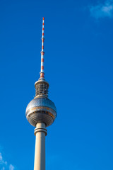 Berlin, Germany - Panoramic view of the Television Tower - Fernsehturm - at the Alexanderplatz square in the Mitte quarter of Berlin