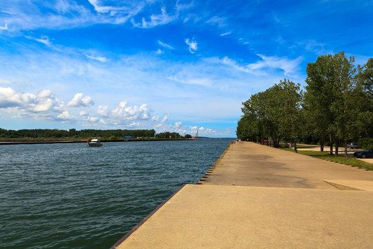 Lake Erie and Presque Isle Bay at Erie Pennsylvania