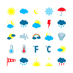 Modern weather icons set. Flat vector illustration.