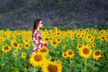 Wall Mural - Young woman standing in a field of sunflowers.