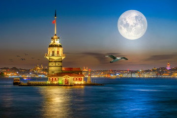 """Maiden's Tower in istanbul, Turkey . """"Elements of this image furnished by NASA"""""""