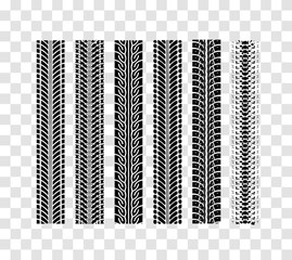 Tire tracks collection. Vector illustration on checkered background