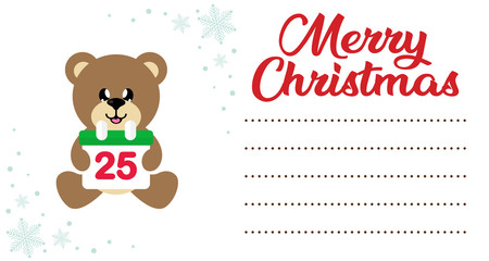 cartoon сhristmas bear sitting with christmas calendar on the christmas letter to santa