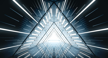 Abstract Triangle Spaceship corridor. Futuristic tunnel with light. Future interior background, business, sci-fi science concept. 3d rendering Wall mural