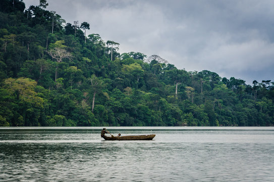 Simple wooden dugout canoe on Barombi Mbo crater lake of Cameroon, Africa.